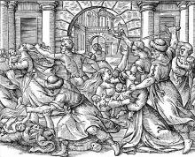 http://www.pitts.emory.edu/woodcuts/1591BiblA/00013932.pdfEvangelivm sanctvm Domini Nostri Iesu Christi conscriptvm a qvatvor Evangelistis sanctis idest, Author: Raimondi, Giovanni Battista, 1540-1630Image Title: Massacre of the InnocentsScripture Reference: Matthew 2Description: All the male infants in Bethlehem are murdered at Herod's order.